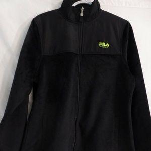 Fila Sport zip up black furry fleece jacket